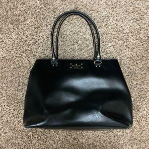 Black leather Kate Spade tote bag